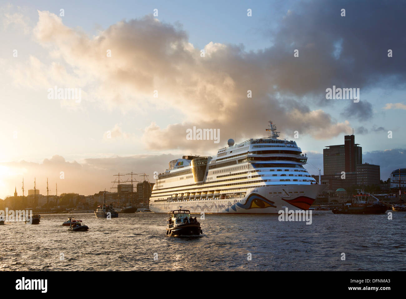 Cruise ship AIDAsol entering port in the evening light, Hamburg, Germany, Europe Stock Photo
