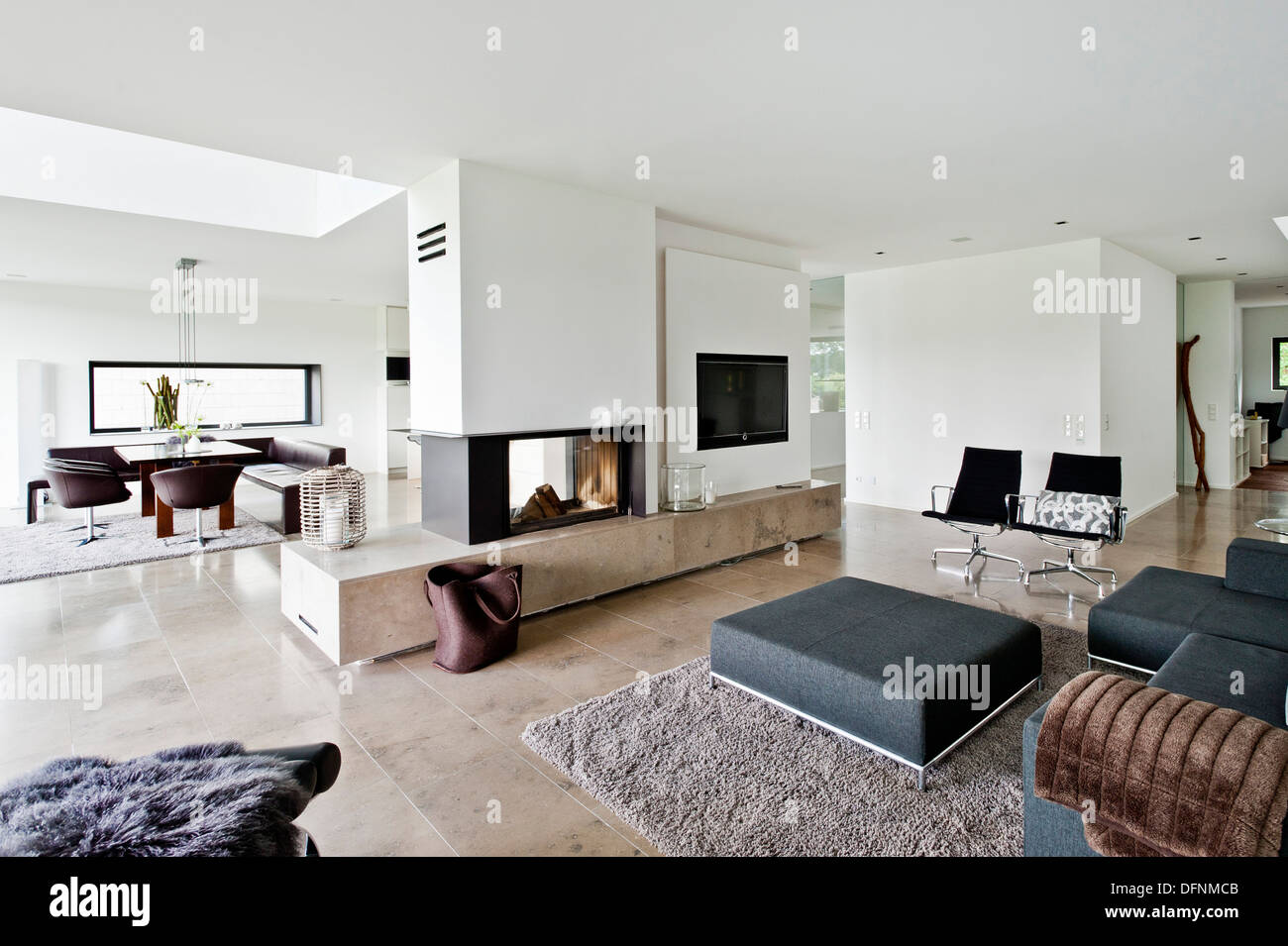 Open-plan living and dining area, Neuenkirchen, North Rhine-Westphalia, Germany - Stock Image
