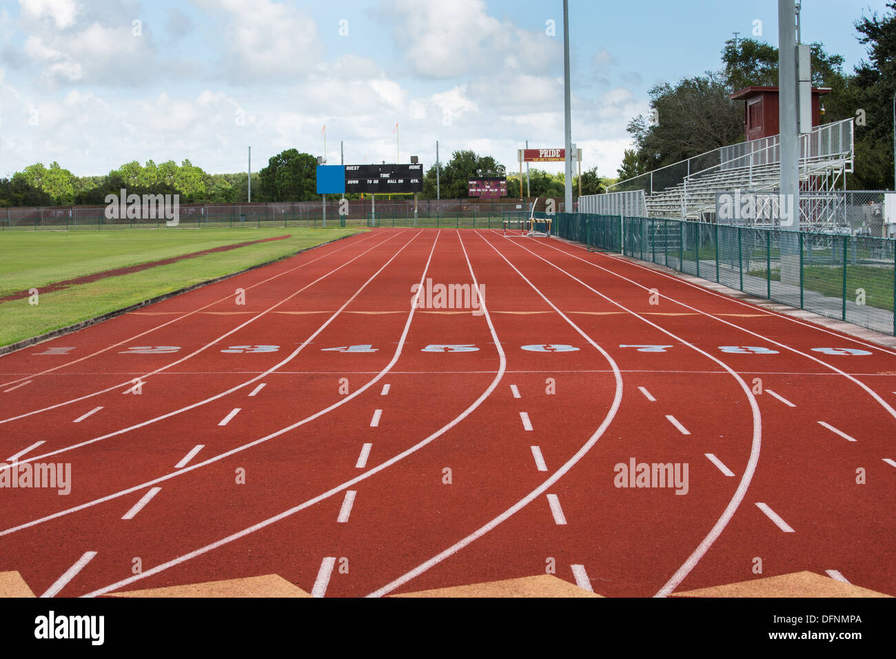 This image shows the nine lanes and the start at the local running track. - Stock Image
