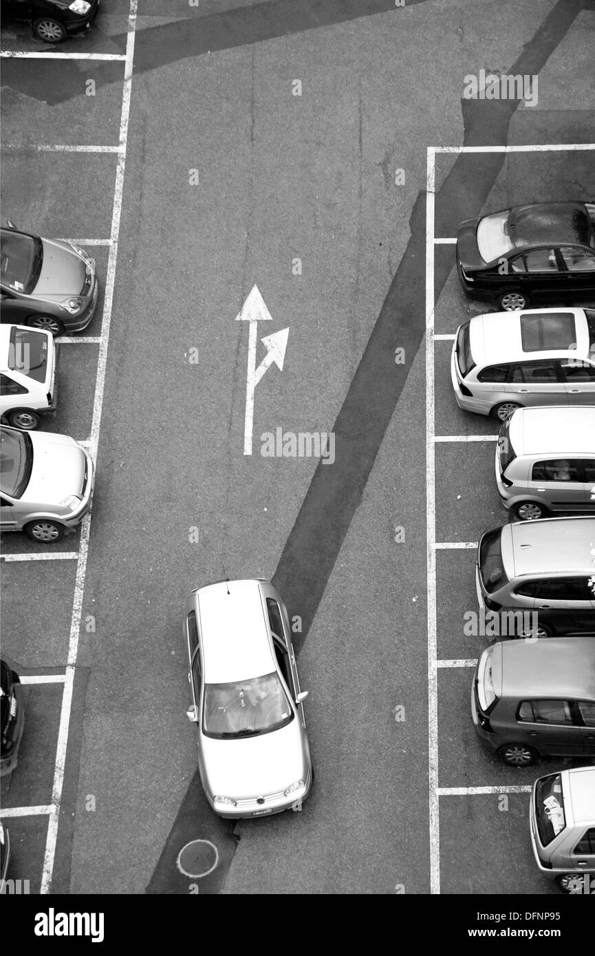 parking place, parking car, parked cars, Geneva, Switzerland - Stock Image