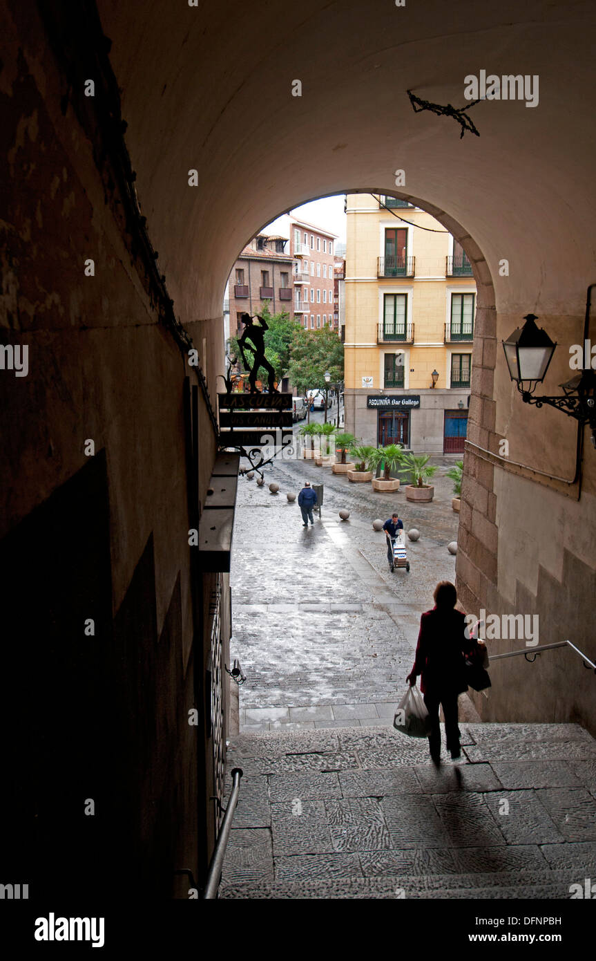 one of gates leading from Plaza Mayor to streets Calle de Cuchilleros and Calle de Cava de San Miguel, The Madrid Stock Photo