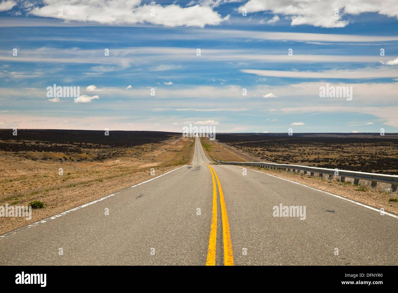 Argentine pampa, flat plain of dry grass and low thorny scrub, region famous for gale force winds, long straight roads, - Stock Image