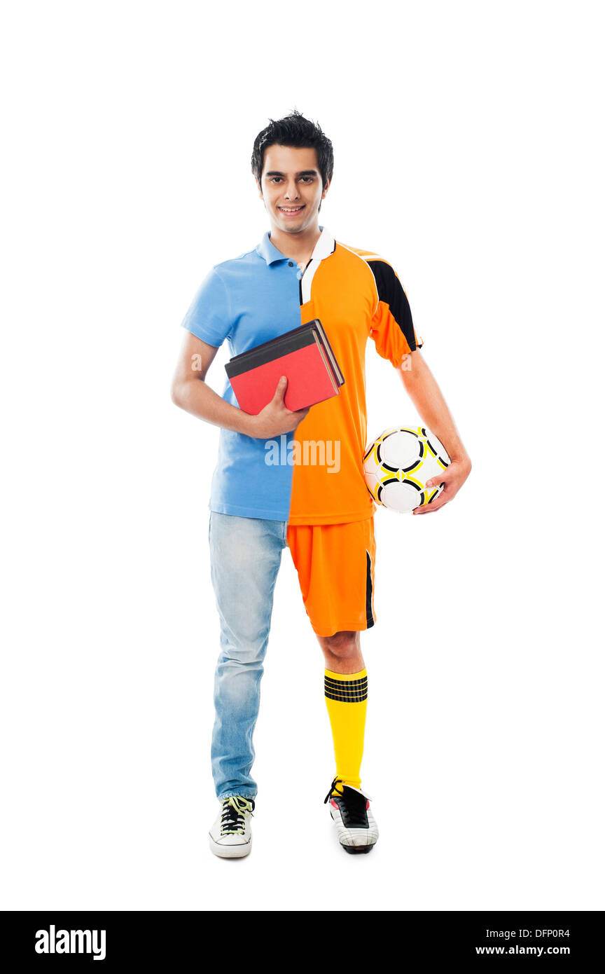 Portrait of a spilt personality man smiling - Stock Image