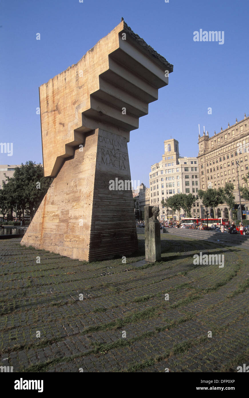 Monument to Catalan political leader Francesc Macià by sculptor Josep Maria Subirachs at Plaça de Catalunya. Barcelona, Spain - Stock Image