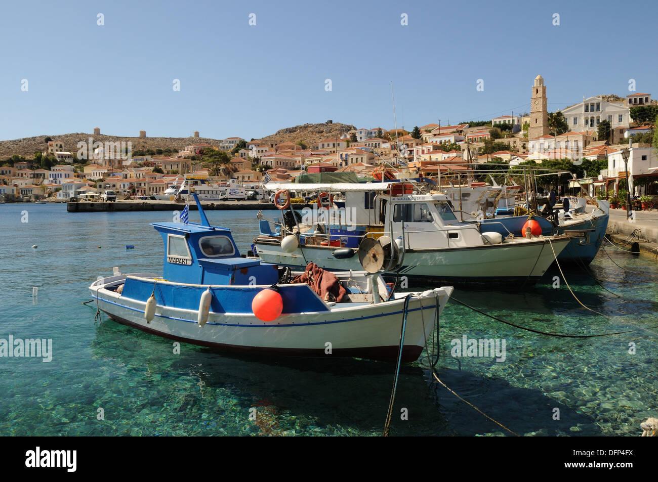 Halki Harbour Emporio Port The Dodecanese Greece - Stock Image
