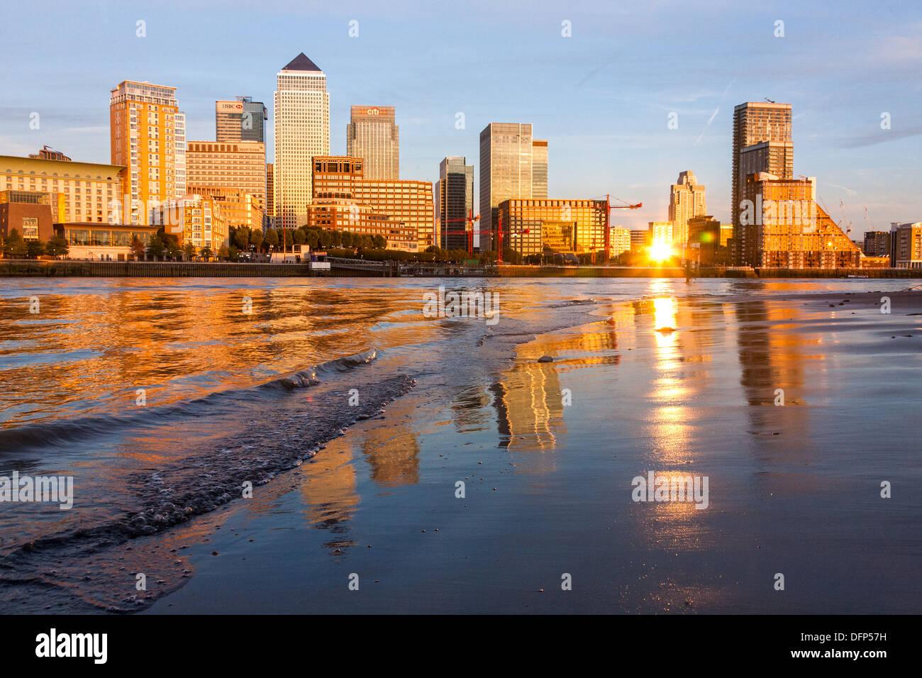 docklands beach golden sunset reflection - Stock Image