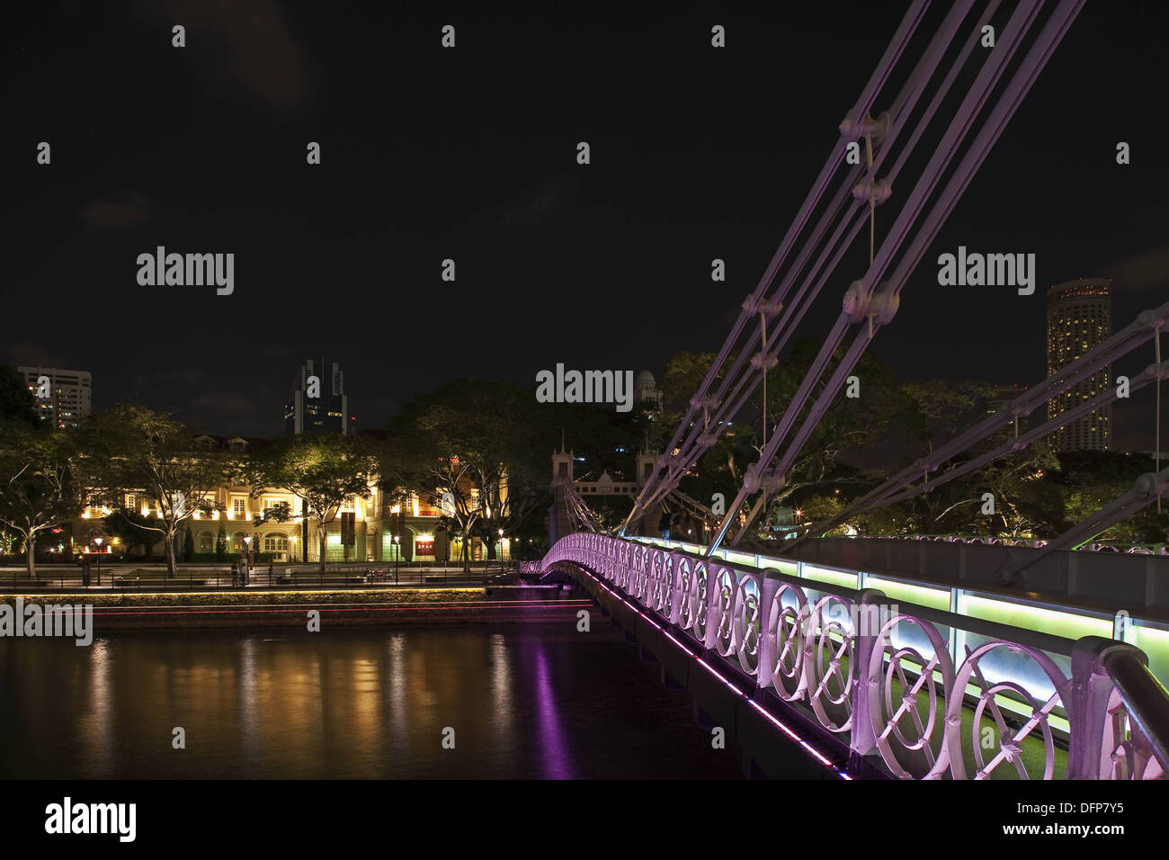 Singapore, night time view of the Asian Civilisations Building and hte Empress Place building designed by the engineer J F A - Stock Image