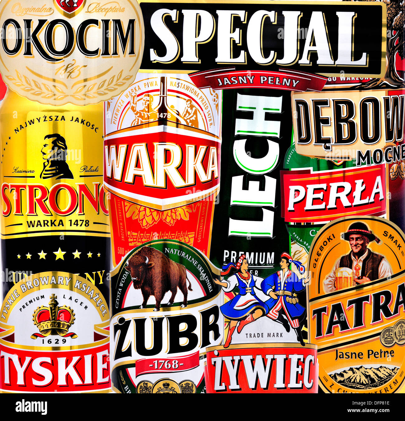 Polish Beers (details from cans) - Stock Image