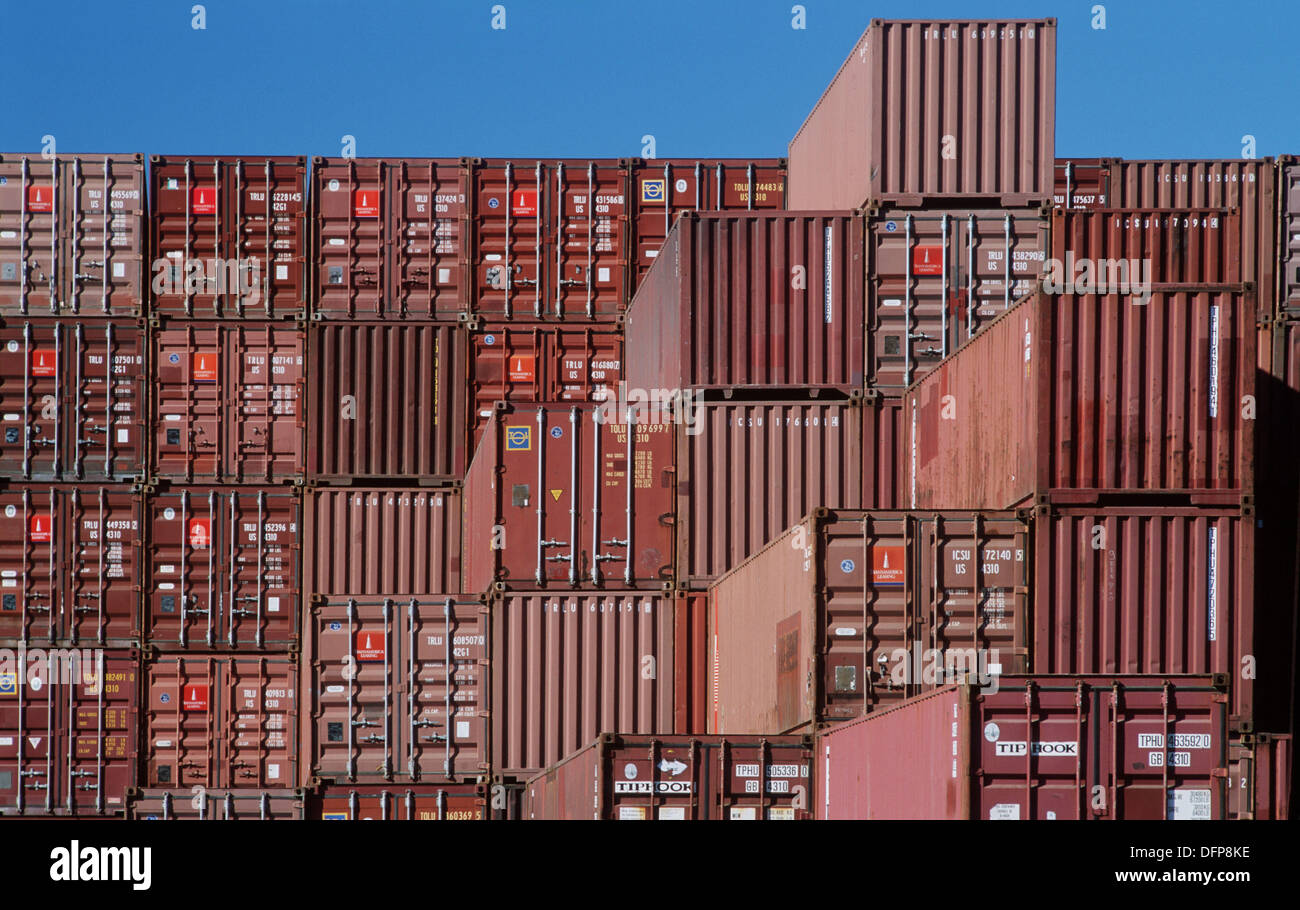 Shipping Containers In Storage Yard   Stock Image