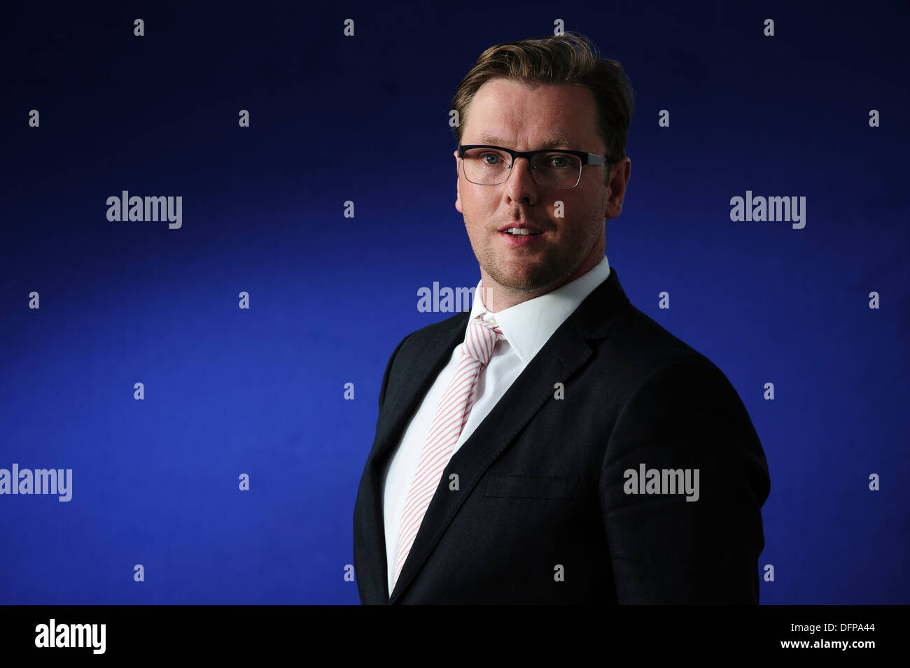 Damian Barr Writer, columnist, playwright and salonnière, attending at the Edinburgh International Book Festival 2013. - Stock Image