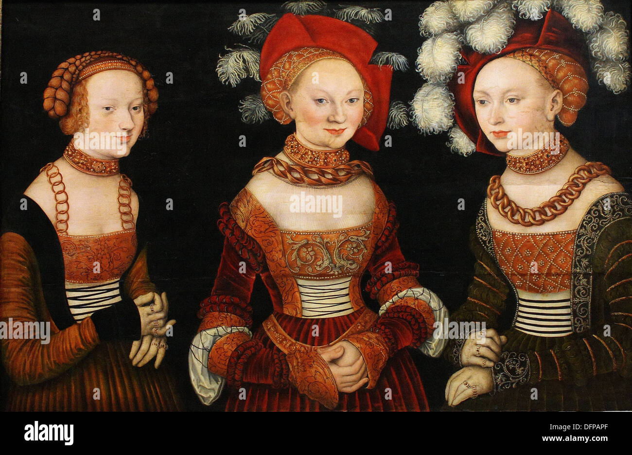 Lucas CRANACH The Elder - The Saxon Princesses (Sibyl, Emilia and Sidonia of Saxe) - 1530 - Kunsthistoriches Museum - Vienna - Stock Image