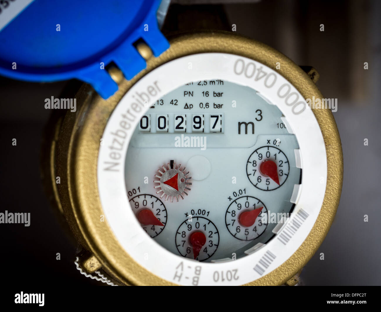 Water meter in close-up - Stock Image