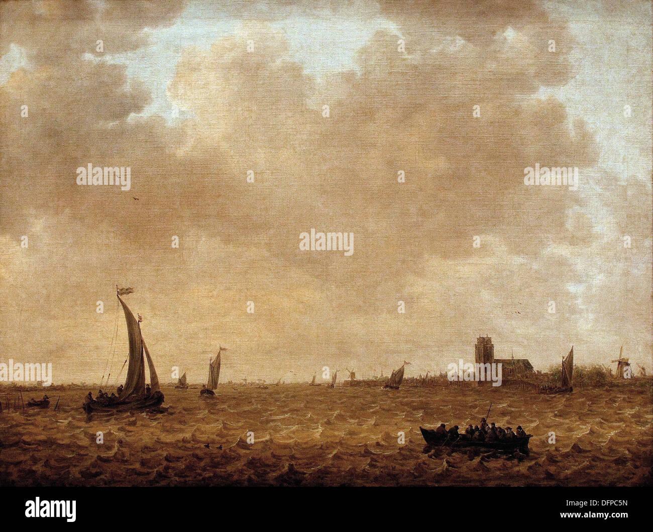 Jan van GOYEN - Blick über die Merwede auf Dordrecht - 1644 - Kunsthistoriches Museum - Vienna - Stock Image