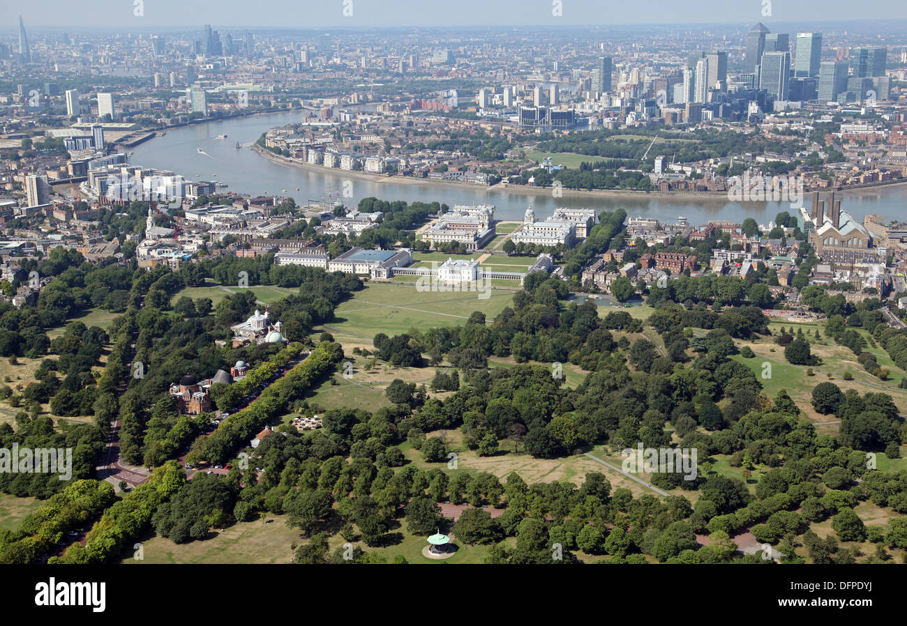 aerial view of Greenwich Park, River Thames, Isle of Dogs, London - Stock Image