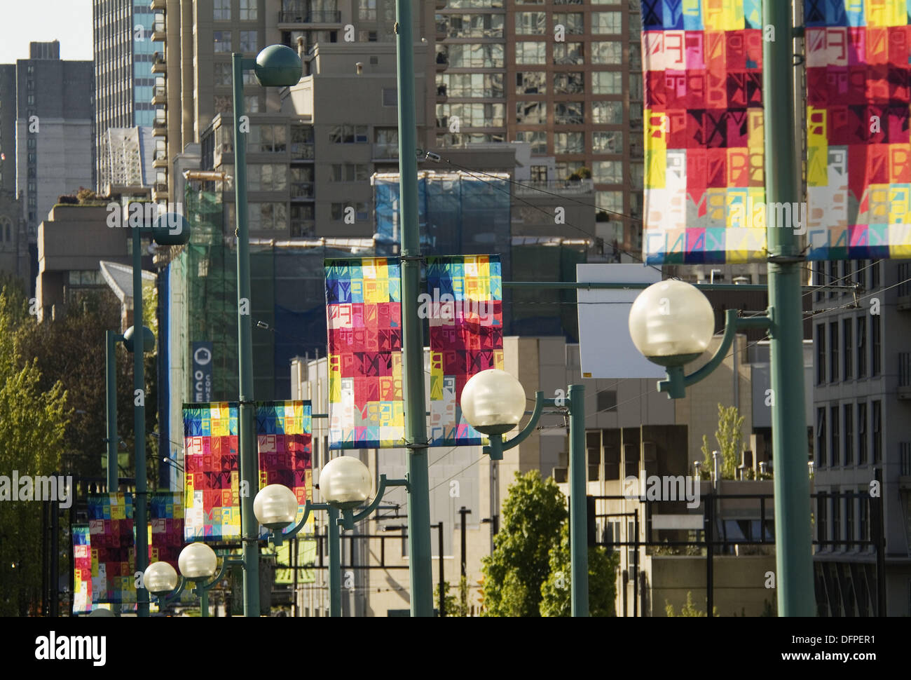 Banners in downtown Vancouver by artist Bratsa Bonifacho. BC, Canada - Stock Image