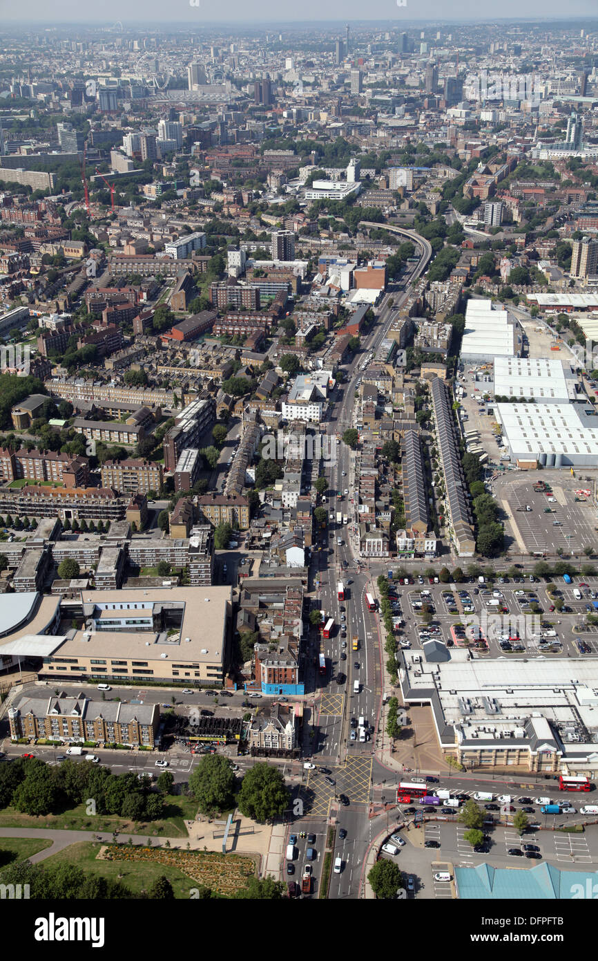 aerial view looking north west up the A2 Old Kent Road towards the A201 and London in the background Stock Photo