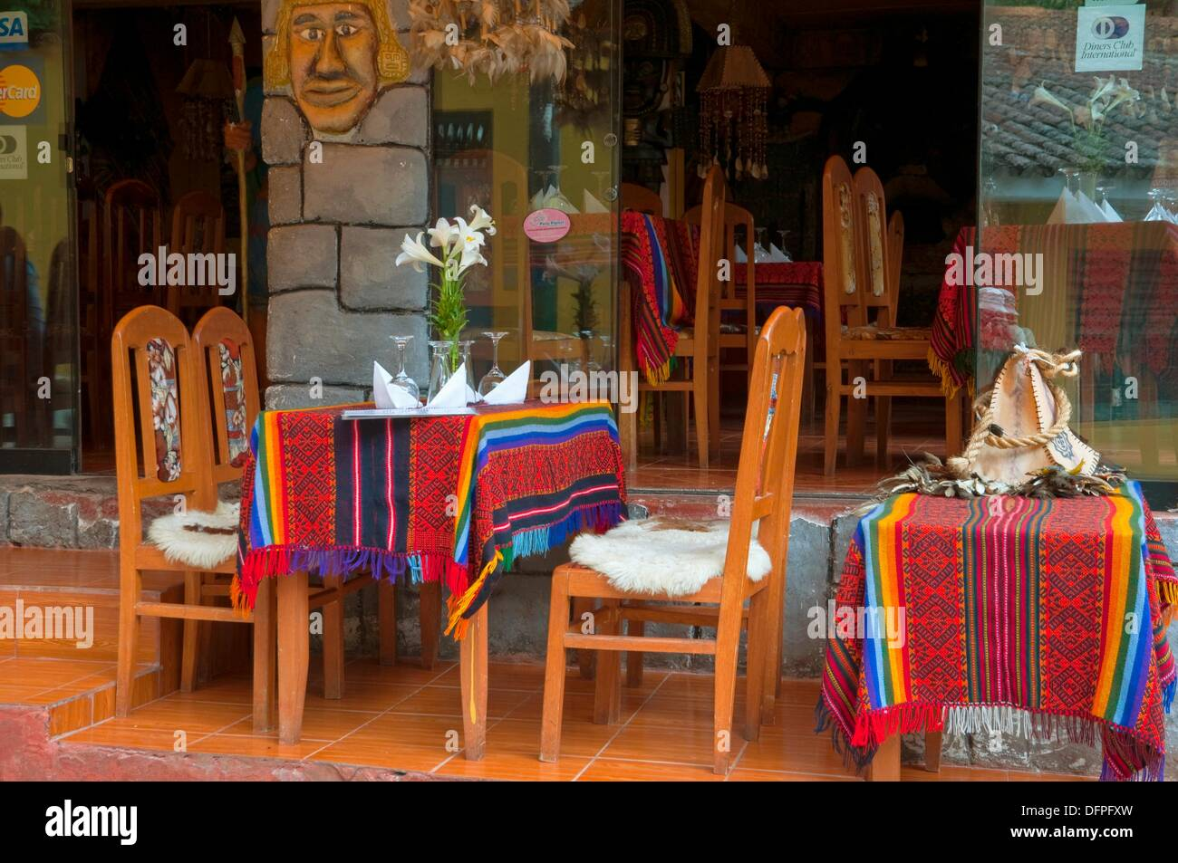 Colorful Outdoor Restaurant Table Settings And Tablecloths In Agua  Calientes, Peru