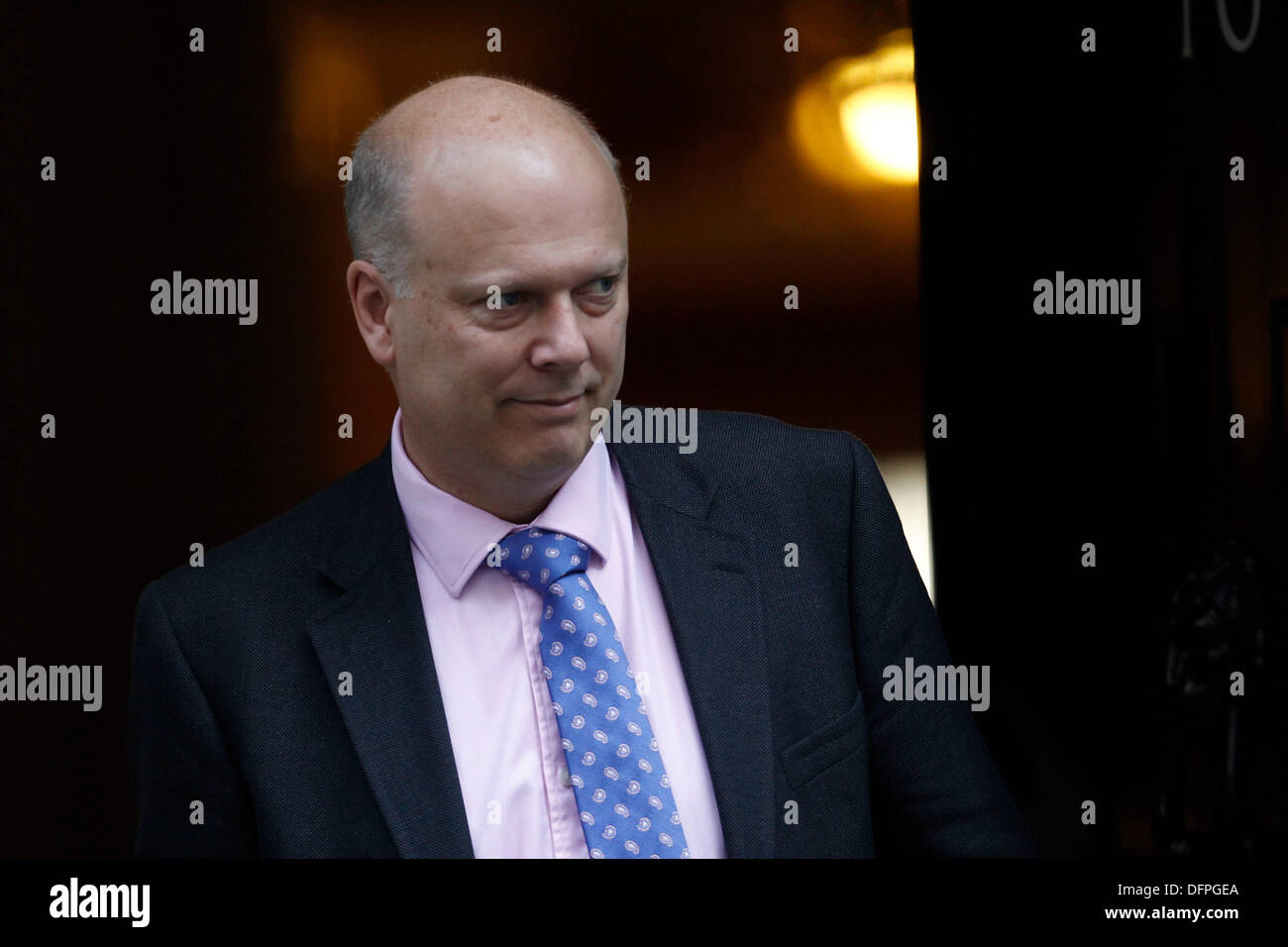 London, UK. 8th October 2013. Justice Secretary Chris Grayling attends the weekly cabinet meeting at No:10 Downing Street in London, Britain, on 08 October 2013.((Photo by Tal Cohen/Alamy Live News) - Stock Image