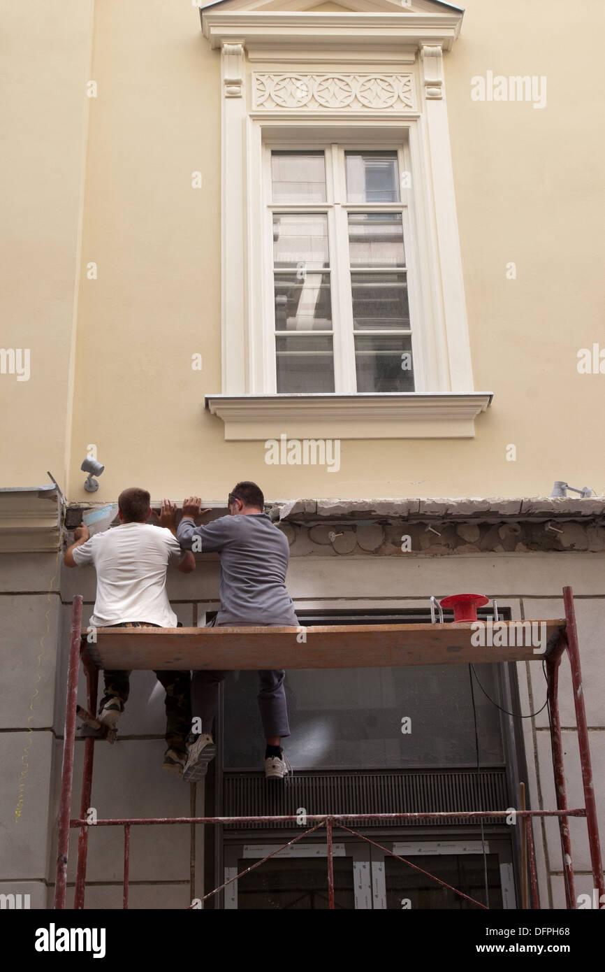 Builders repaired, Bratislava, Slovakia - Stock Image