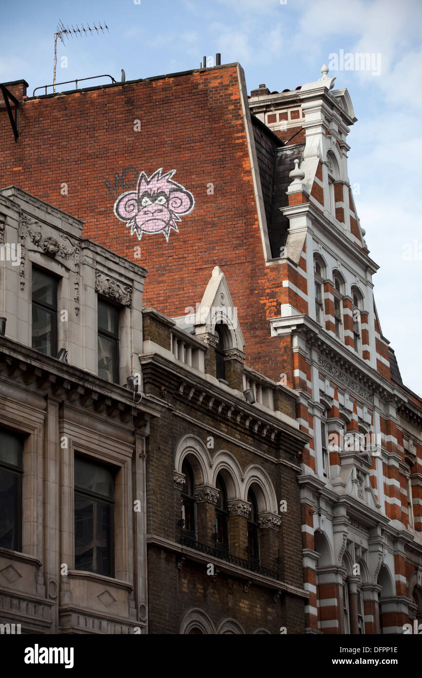 Mighty Mo Graffiti above Oxford Street, London - Stock Image