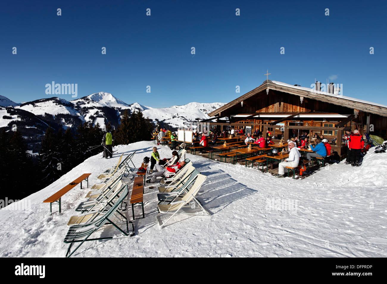 austria, tyrol, kitzbuhel, kirchberg, ski resort pengelstein stock