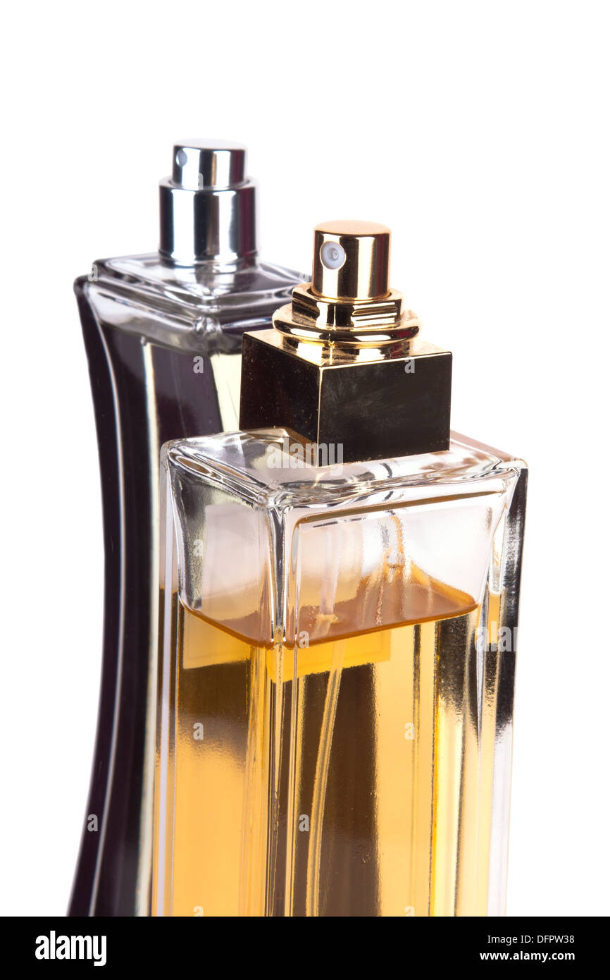 Two perfume bottles isolated on white background - Stock Image