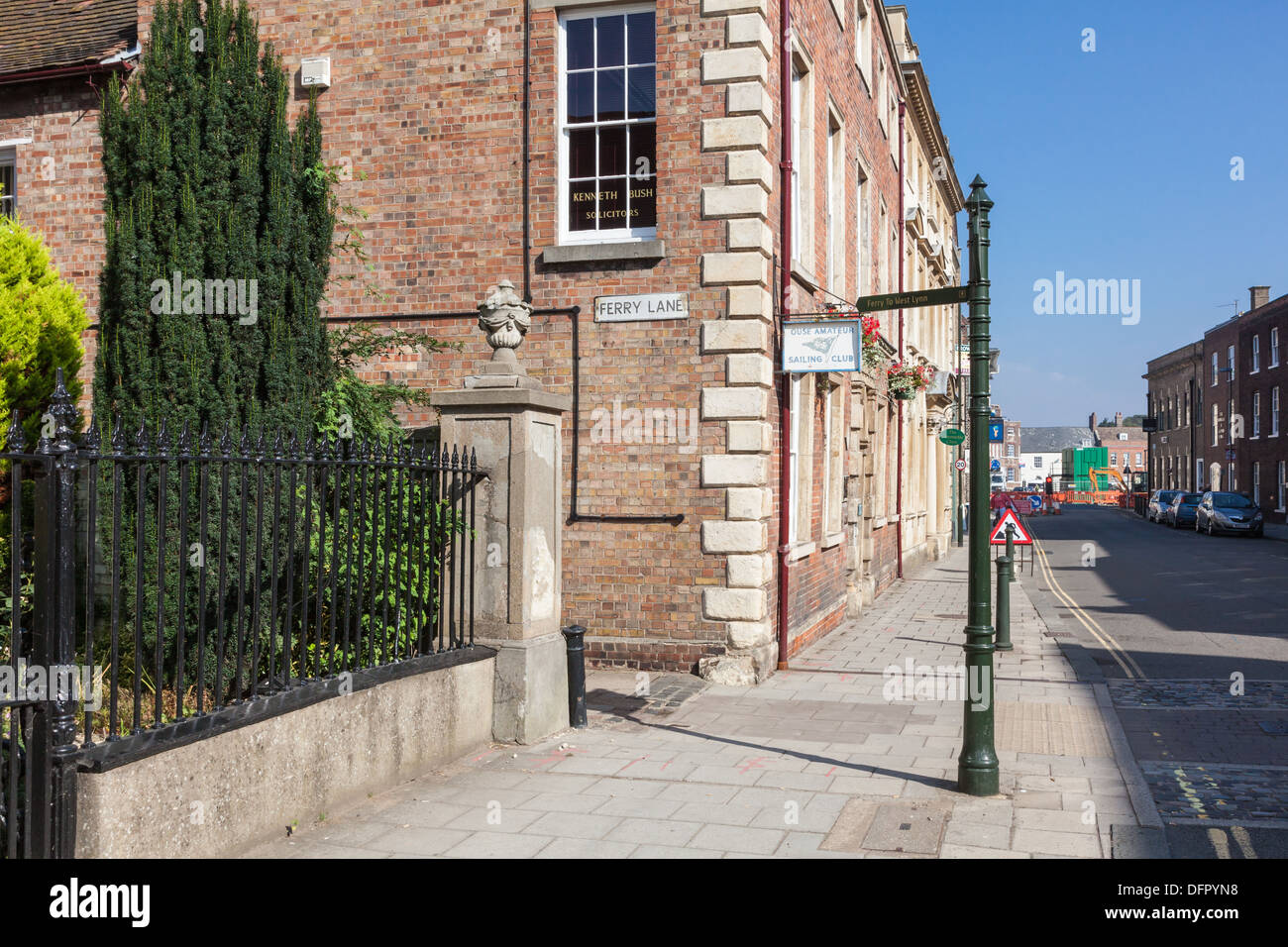 The entry to Ferry Lane off King St, King's Lynn. The Lynn ferry crosses the River Great Ouse from Here, Norfolk Stock Photo