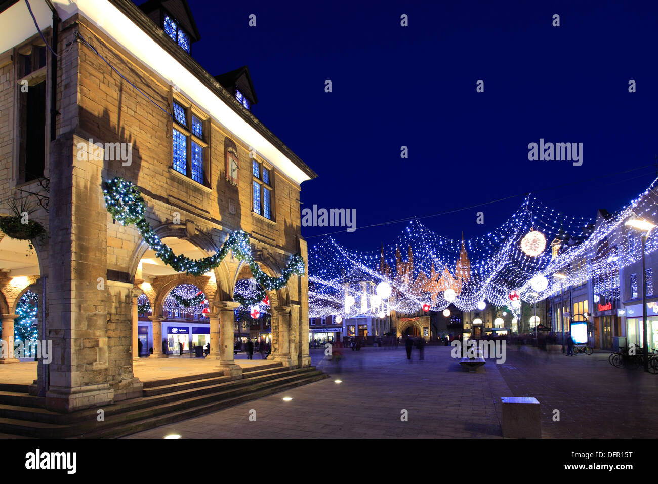 The Christmas lights decorations, the Guildhall, Cathedral Square, Peterborough City, Cambridgeshire, England, UK - Stock Image