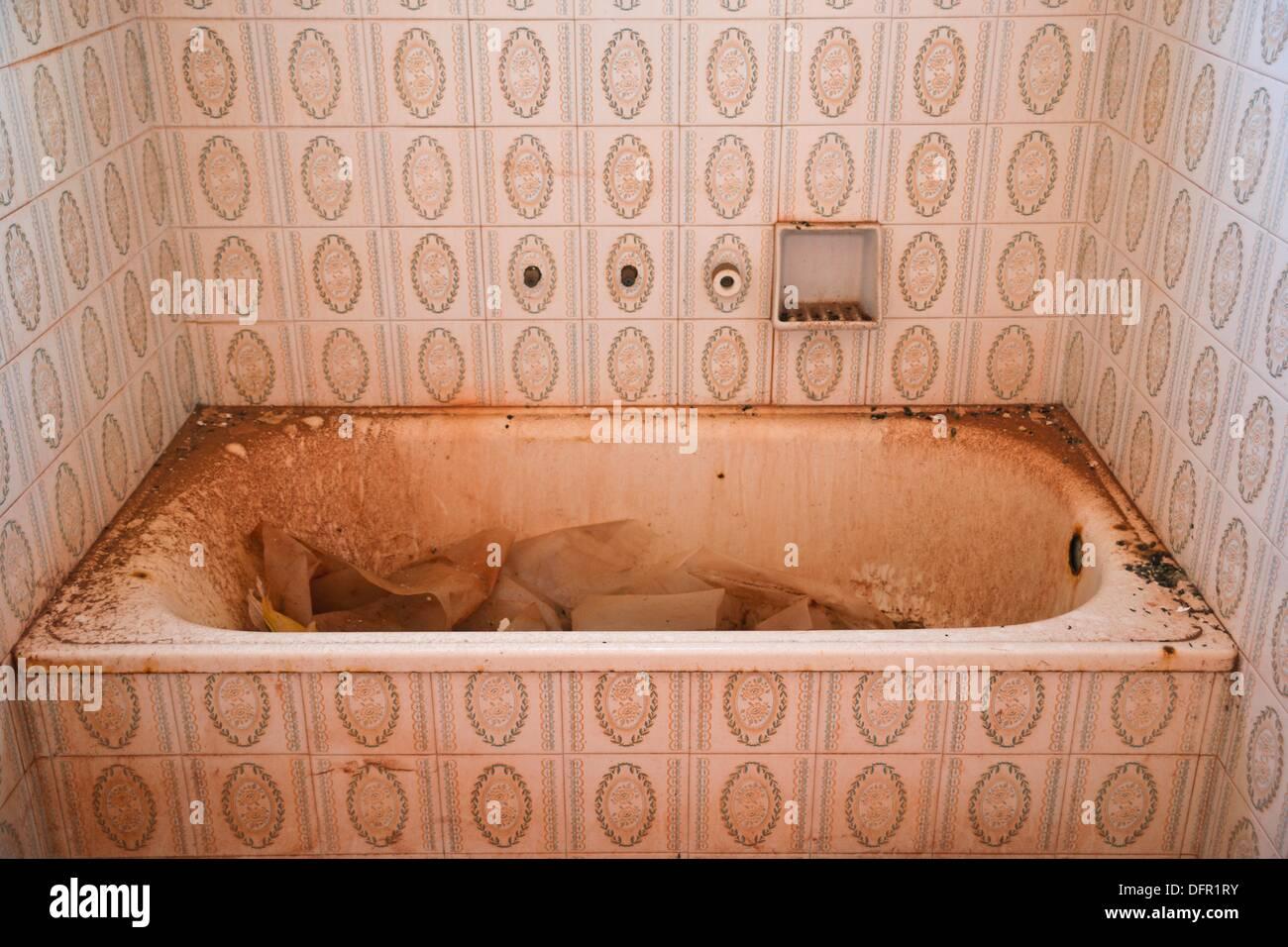 tub in disrepair, Menorca Balearic Islands Spain - Stock Image