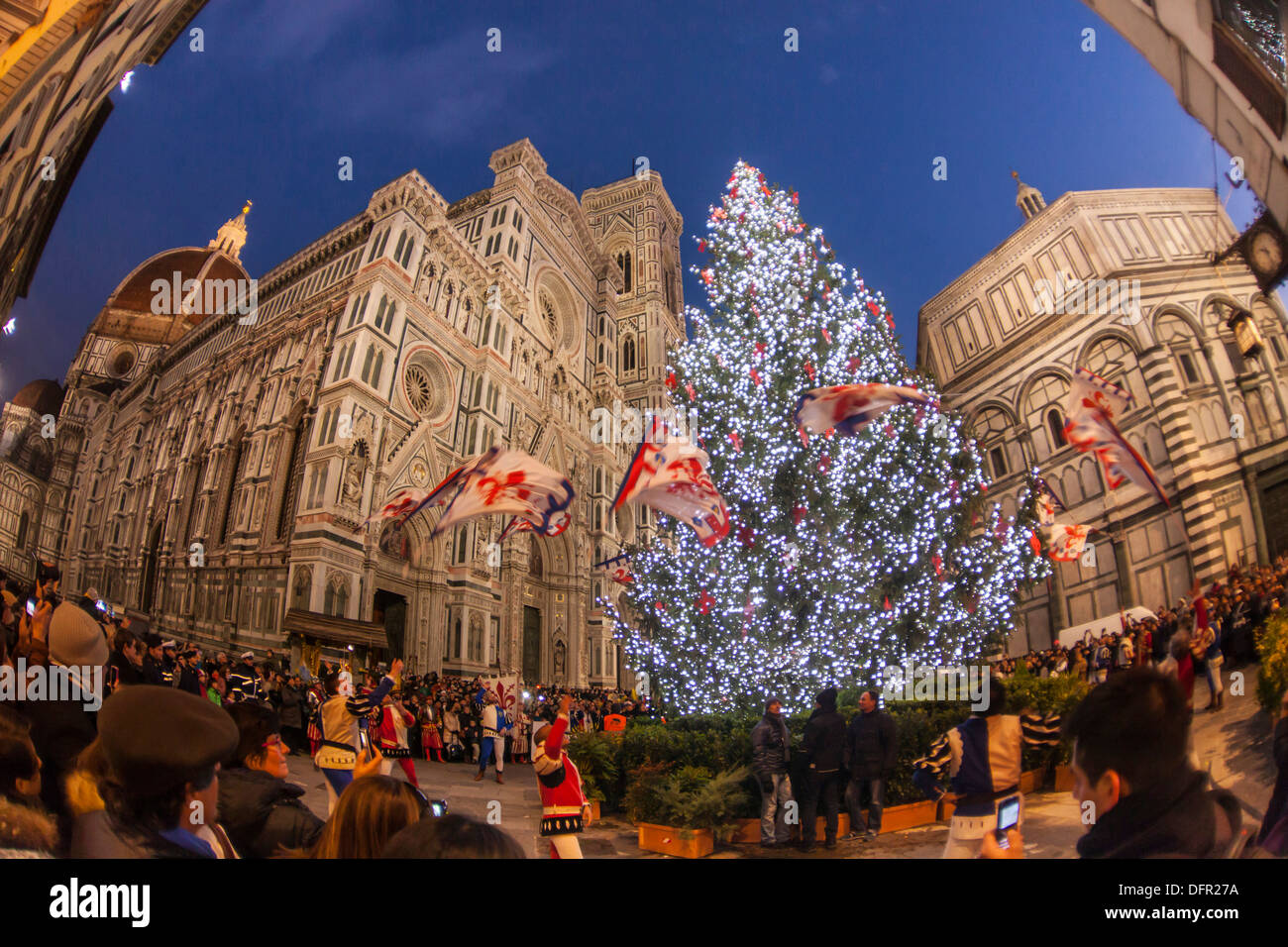 Christmas In Florence Italy.Italy Tuscany Florence Cathedral Baptistere And Christmas