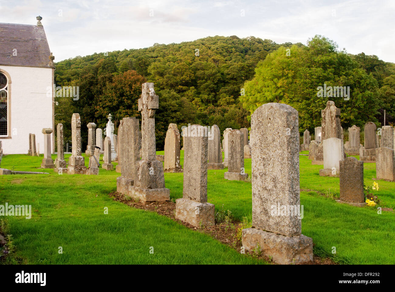 Old cemetery in Scottish country churchyard - Stock Image
