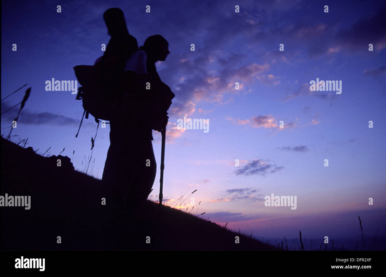 Trekker, Bolkar mountains, Taurus Mountains. Anatolia, Turkey - Stock Image