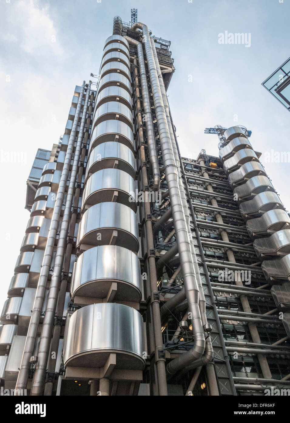 The Lloyd's Building in Lime Street, City of London, UK, the heart of the insurance industry in the financial district - Stock Image