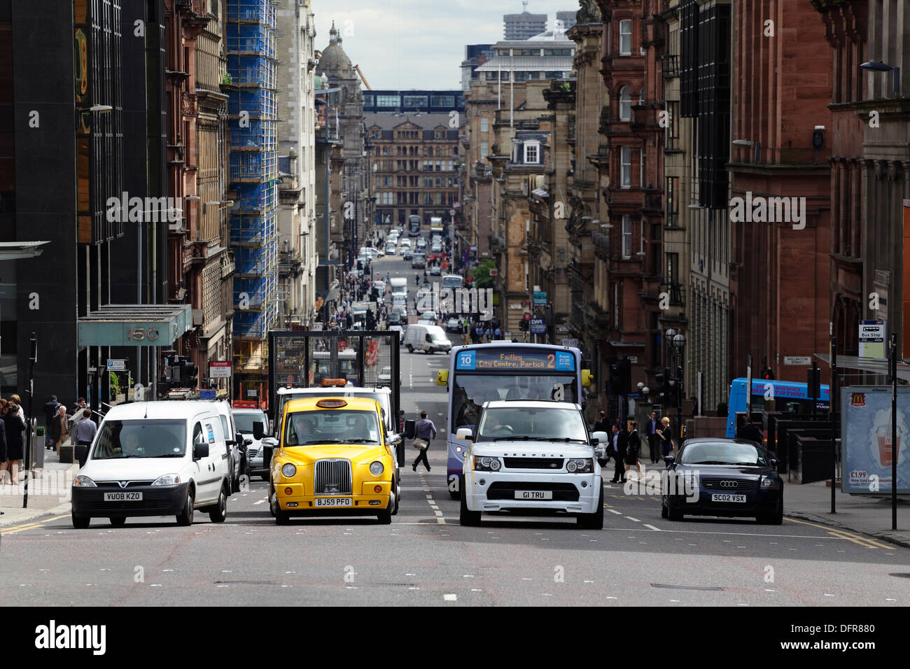 View looking East down St Vincent Street in Glasgow city centre, Scotland, UK Stock Photo