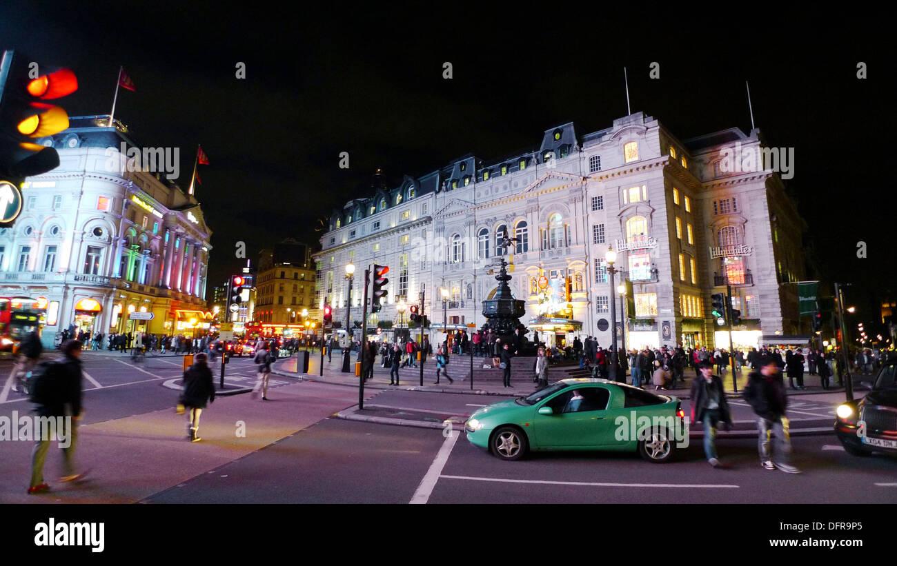Picadilly Circus at night, London, UK, England - Stock Image