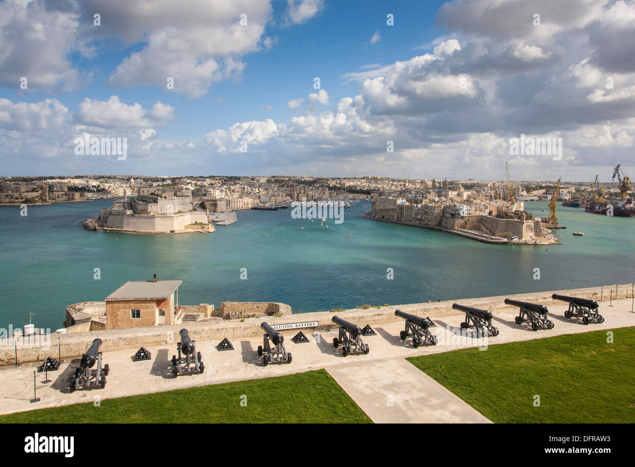 Europe Malta La Valletta Upper Barrakka garden La Vittoriosa Senglea city. Stock Photo