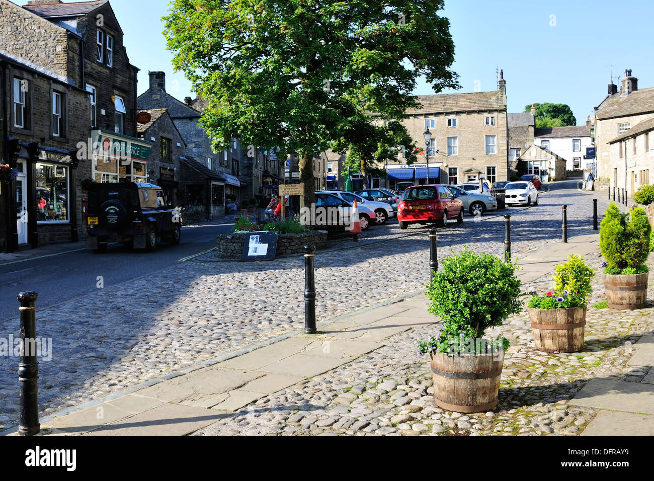 A quiet moment, at the end of the day, in Grassington market square, Yorkshire Dales National Park, England Stock Photo