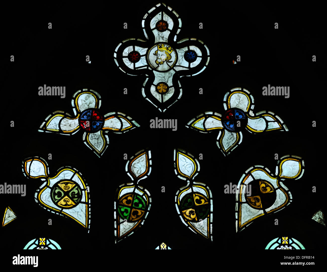 An imposing set of  fourteenth century stained glass lights in Bolton Abbey, Yorkshire Dales National Park, England - Stock Image