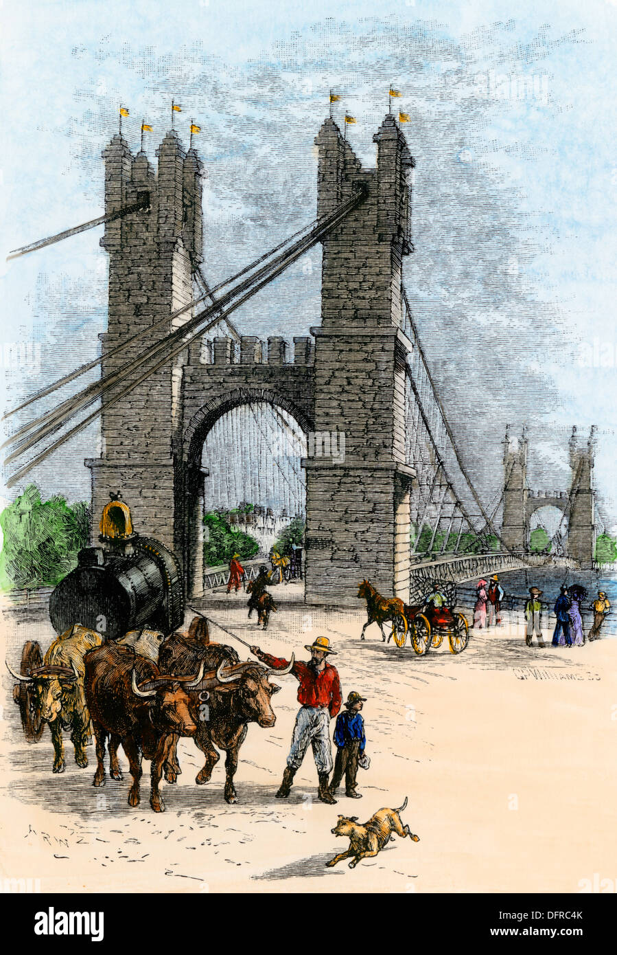 Oxcart crossing the suspension bridge over the Mississippi River at Minneapolis, 1880s. Hand-colored woodcut - Stock Image