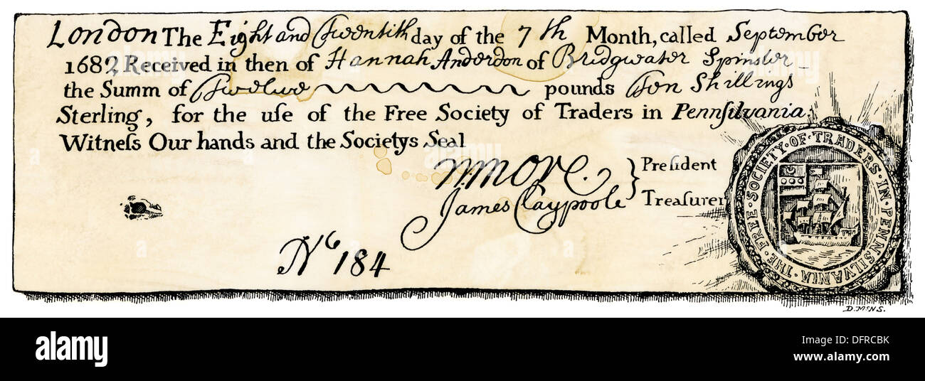 Receipt and seal of the Free Society of Traders in Pennsylvania, 1682. Woodcut with a watercolor wash - Stock Image