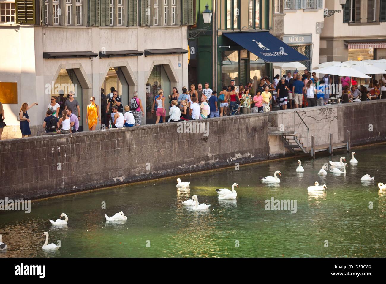 Switzerland Zurich Limmat river - Stock Image