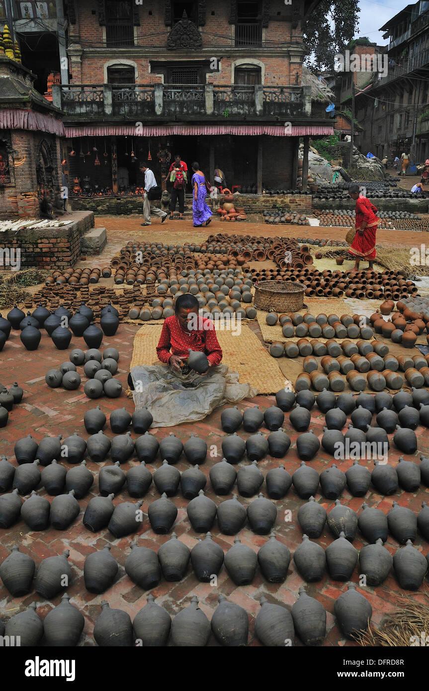 This area of thee town make ceramic, Bhaktapur Bhadgaon Kathmandu valley Nepali - Stock Image