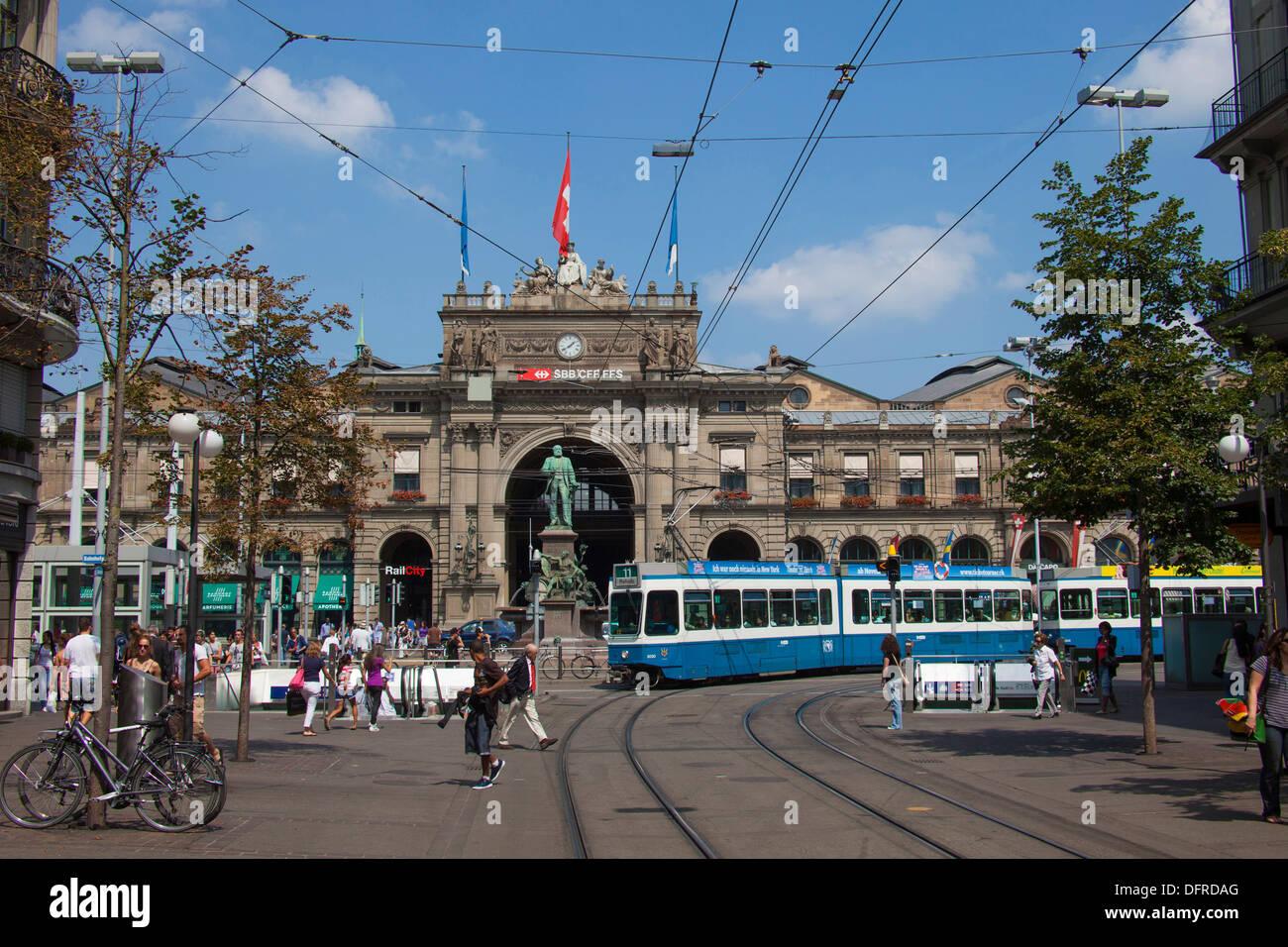 Switzerland Zurich Central Train Station - Stock Image