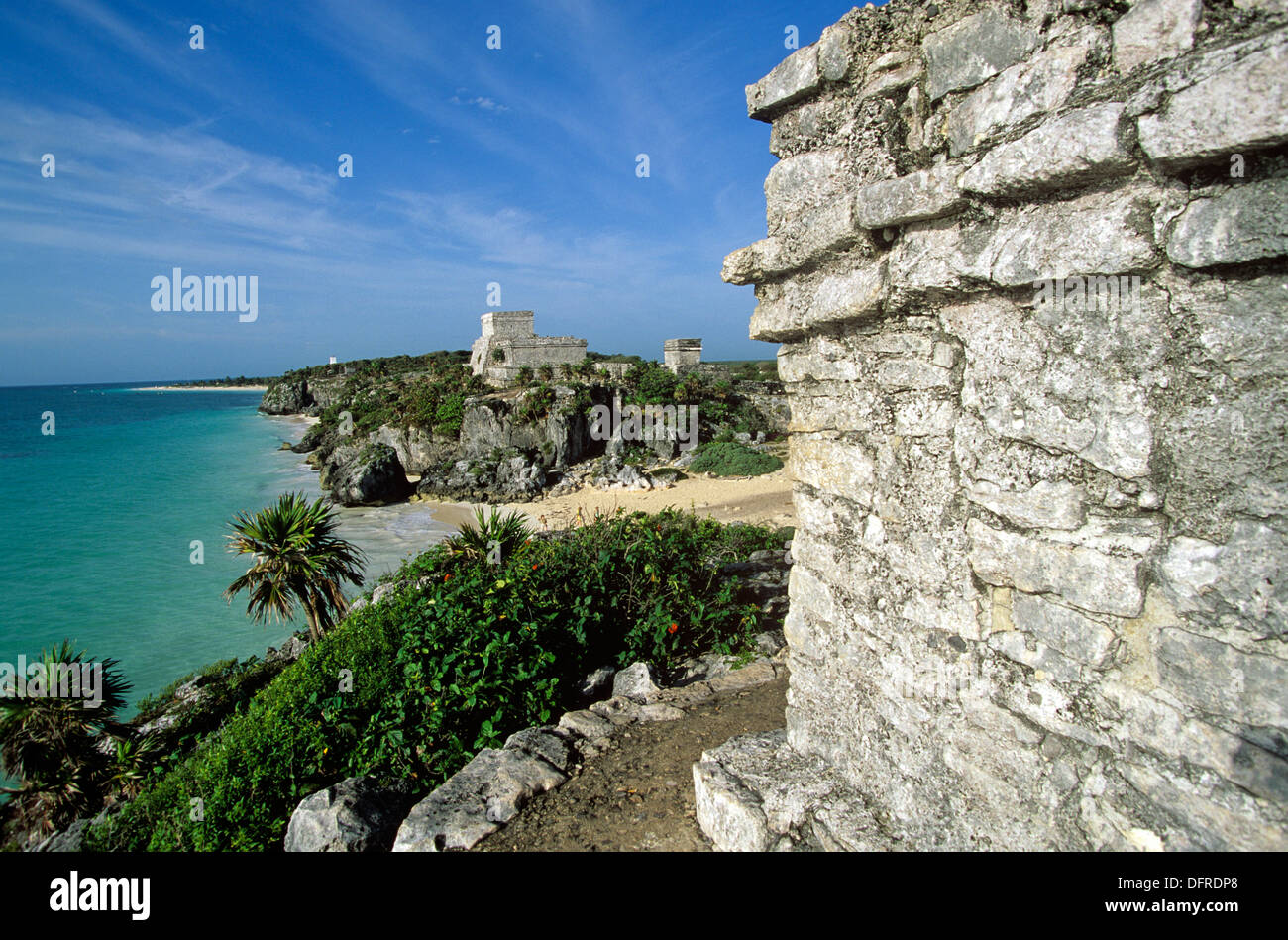 Tulum is a walled Post-Classic Mayan site, abandoned 450 years ago, Quintana Roo, Mexico. - Stock Image