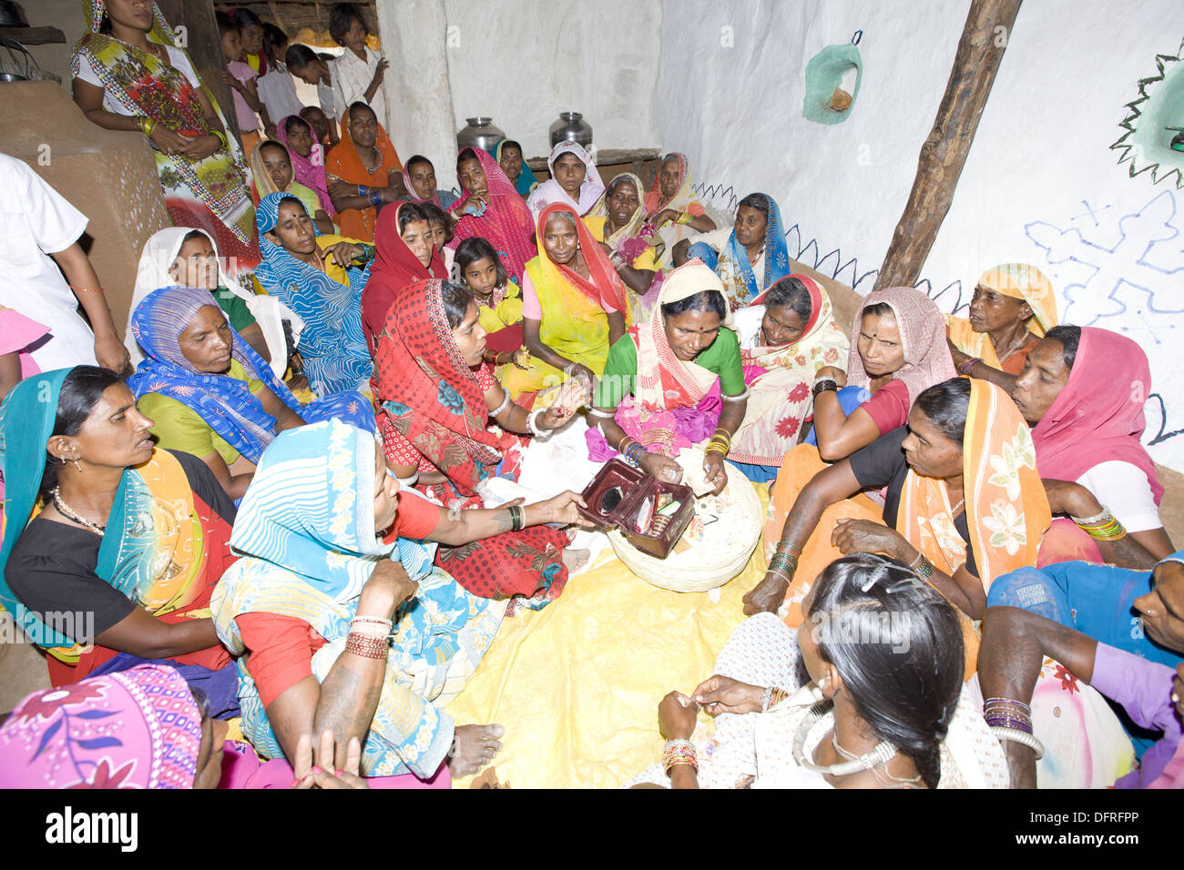 Marriage ceremony of Korku Tribe, Khalwa, Jharikheda village, Madhya Pradesh, India. Stock Photo