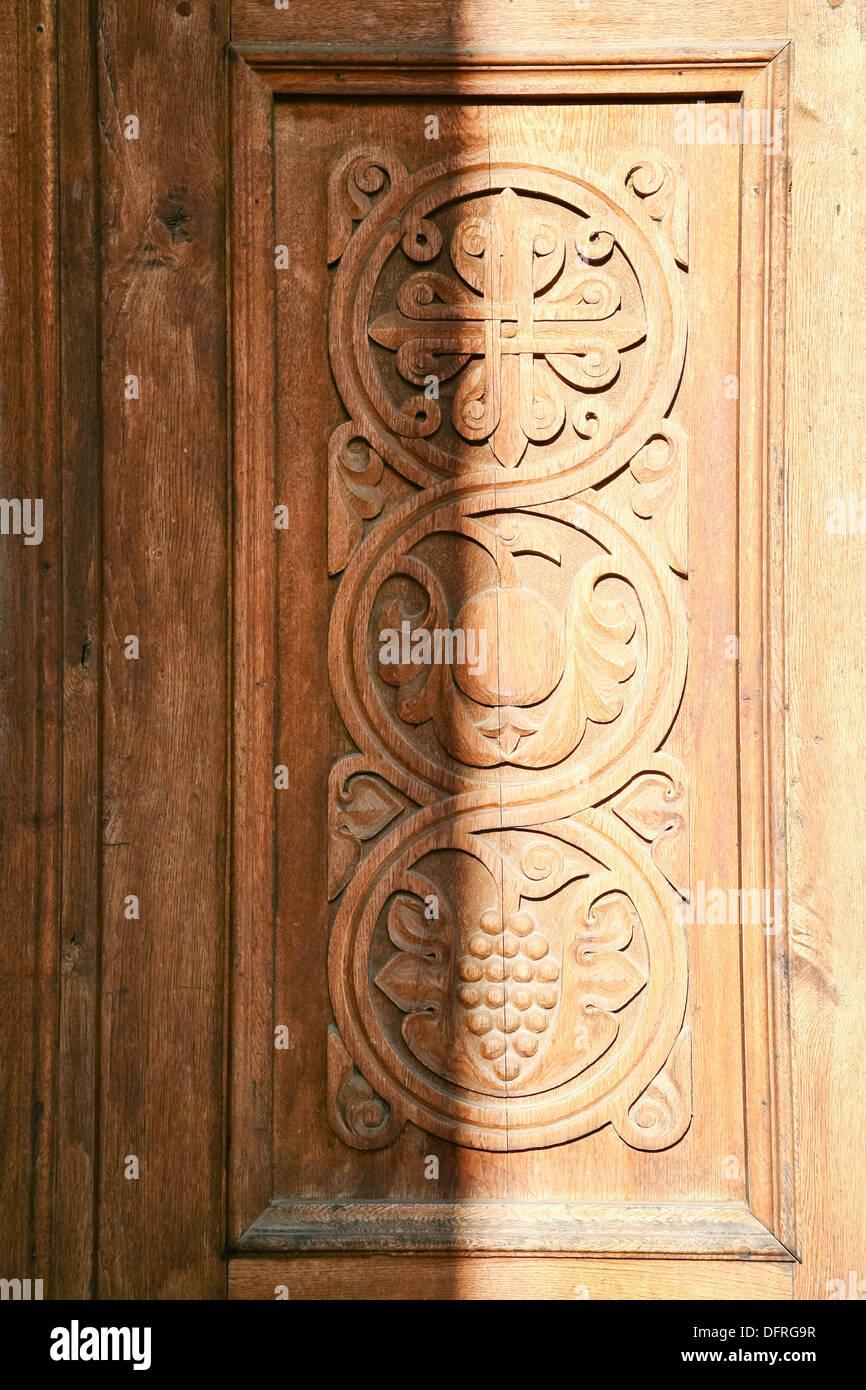 decor of old carved wooden door in Tatev Monastery in Armenia Stock ...