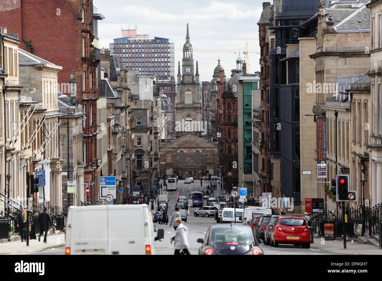 View looking East down West George Street towards St George's Tron Parish Church in Glasgow city centre, Scotland, UK - Stock Image