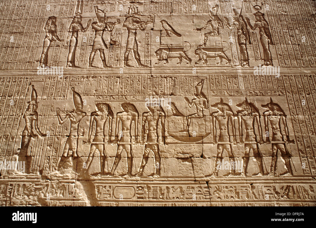 High Relief. Edfu Temple. Upper Egypt. Egypt - Stock Image