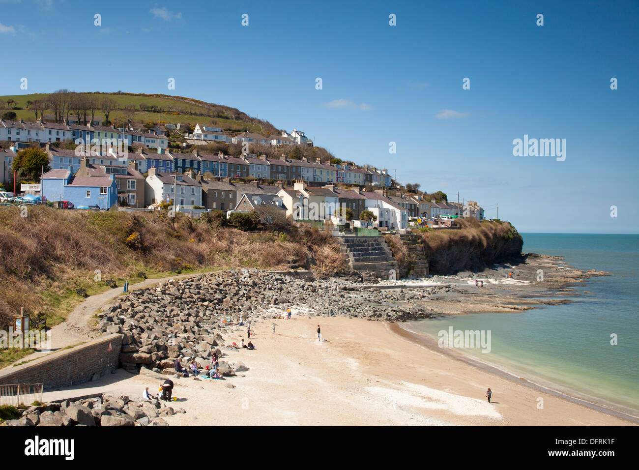 View of the beach and town of Cei Newydd New Quay Wales - Stock Image