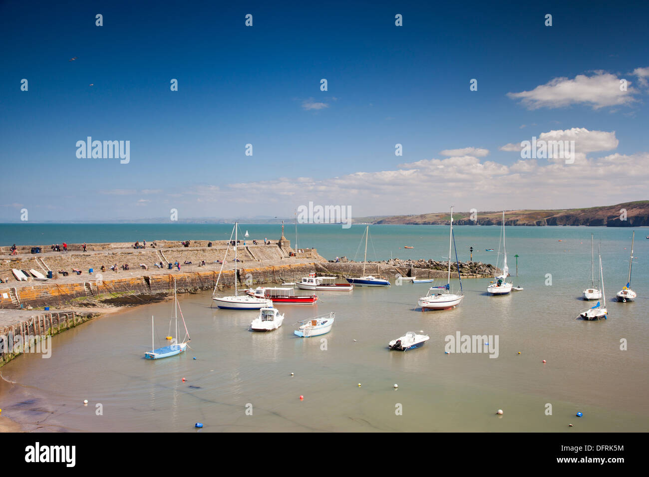 View of the picturesque harbour at Cei Newydd New Quay Wales - Stock Image
